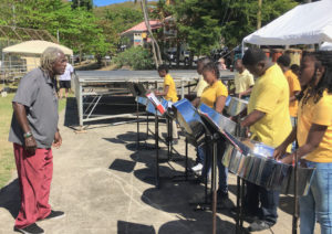 Matey Sewer conducts BCB's Burning Blazers at the Folklife Festival. He will retire as director of the band. (Amy Roberts photo)