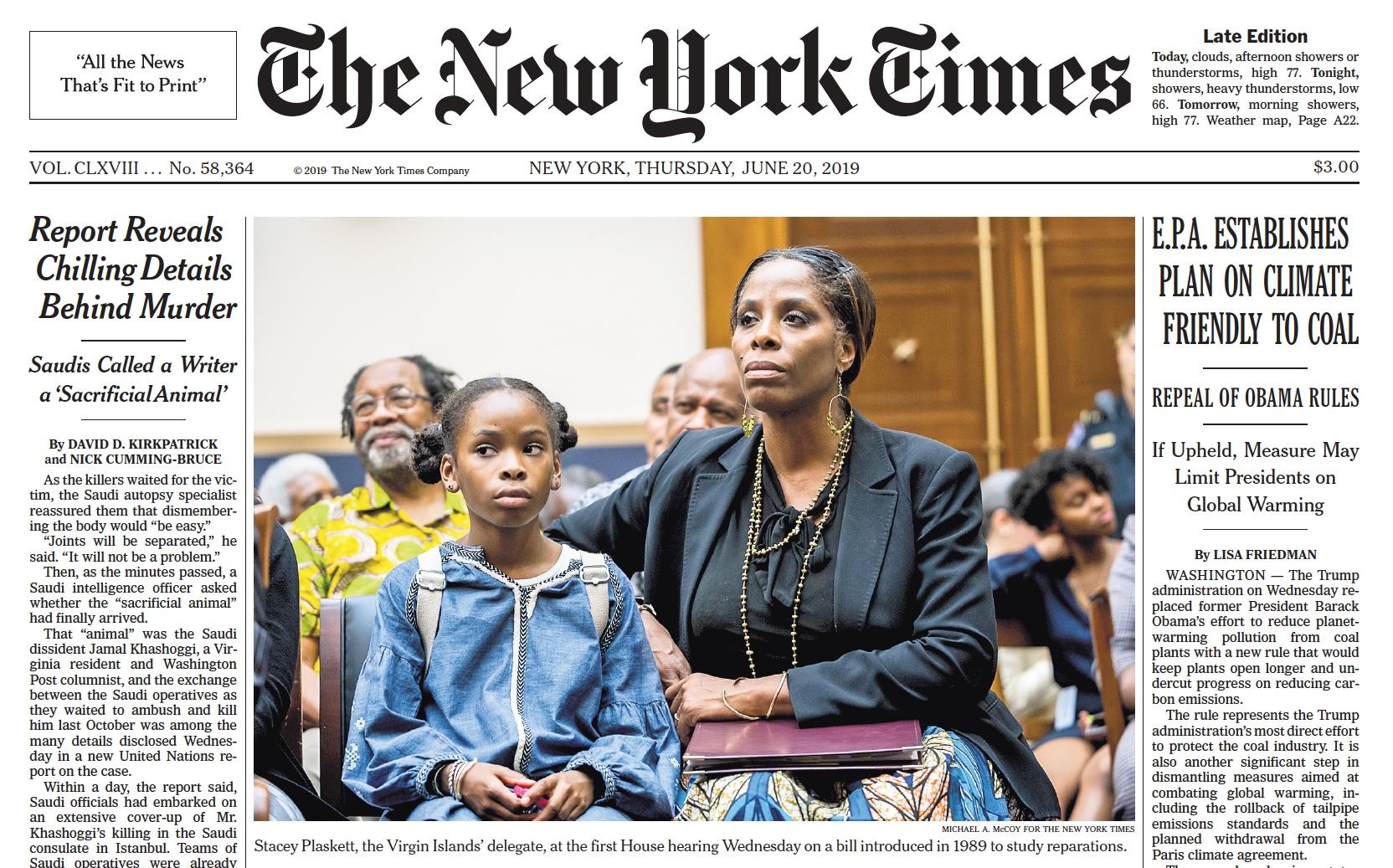 V.I. Delegate on Front Page of New York Times   St. John ...