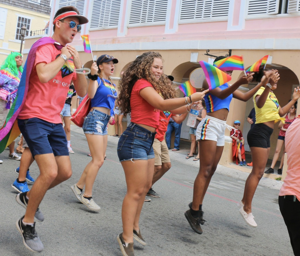 Members of the Good Hope Country Day School Prism dance down the parade route. (Linda Morland photo)
