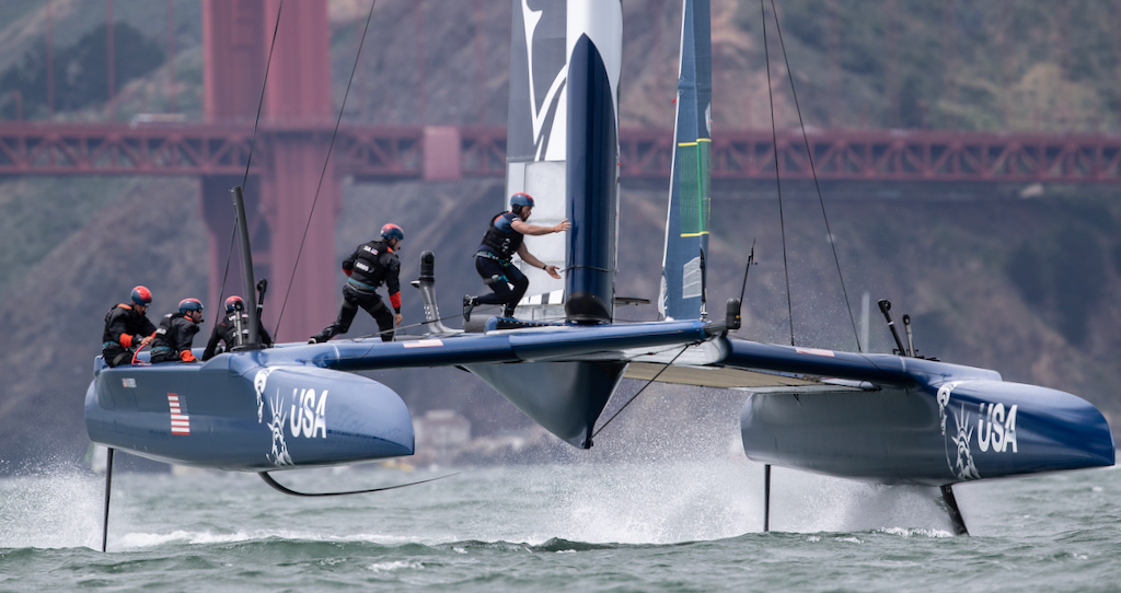 Rome Kirby pilots the USA SailGP Team F50 during racing in San Francisco. Race Day 2 Event 2 Season 1 SailGP event in San Francisco, California. (Photo by Matt Knighton for SailGP)