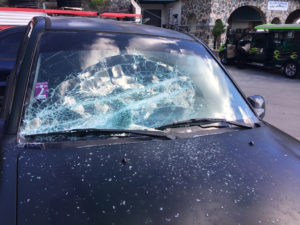 A smashed windshield at the Marketplace. (Amy Roberts photo)