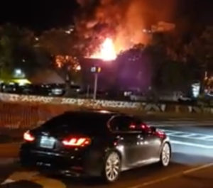 The Long Bay fire Sunday night was heavily followed on social media. (Photo from Facebook)