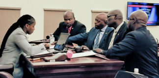 From left, Rules Committee Chairman Janelle Sarauw confers with Sens. Steven Payne, Myron Jackson, Novelle Francis and Oakland Benta at Monday's hearing. (Photo Courtesy of the V.I. Legislature)