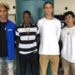 The four V.I. teens pause at the Cyril E. King Airport Monday before heading for Spain, from left, From left to right Elton Richards, Jimson St.-Louis, Connor Querrard, and Dalton Parr. (Source photo by Kyle Murphy)
