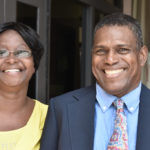 Athlene Cuffy and Bernard Cuffy are all smiles outside the Richard Herbert Amphlett Leader Justice Complex after a favorable ruling over a dispute on how they'd gain access to land they purchased in Estate Clairmont. (Source photo by Wyndi Ambrose)