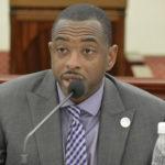Sports, Pars and Recreation Commissioner nominee Calvert White addresses senators' comments. (Photo by Barry Leerdam for the V.I. Legislature)