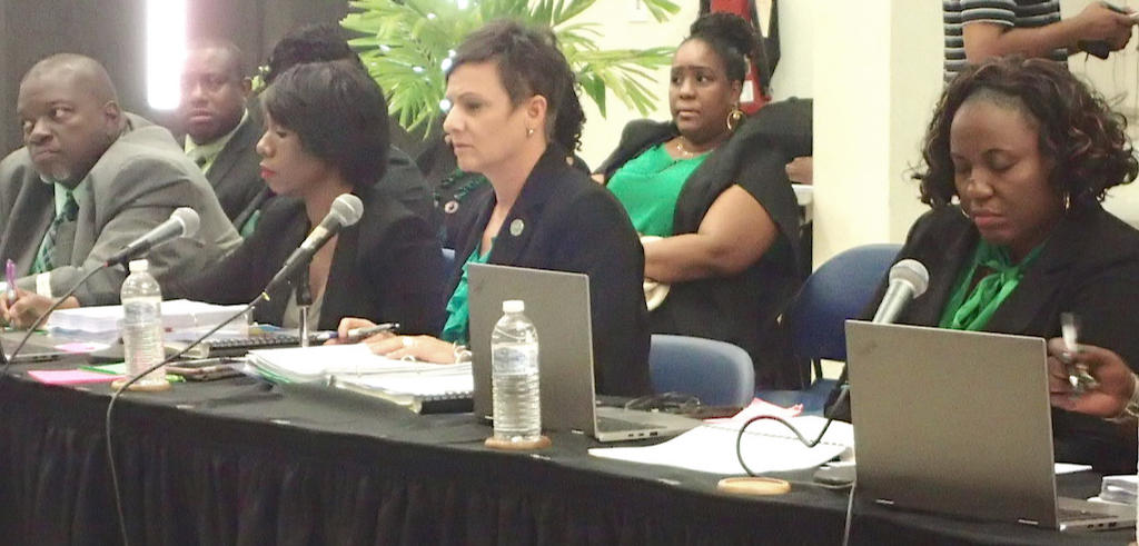 Commissioner Kimberly Causey-Gomez and administrators of Human Services defend budget at legislative hearing. (Source photo by Susan Ellis)