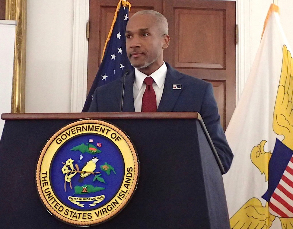 Kamal Latham, chief executive officer of the Economic Development Authority, held a news conference at Government House on St. Croix. (Source photo by Susan Ellis)