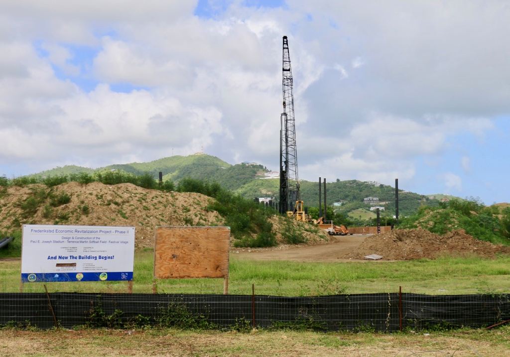 The sign at the Joseph Stadium site proclaims 'And Now the Building Begins,' but that was two years ago and little has work has been seen on the site. (Source photo by Linda Morland)