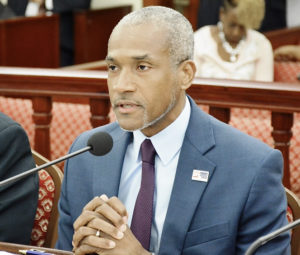 Economic Development Authority CEO Kamal Latham responds to questions from the Finance Committee Monday. (Photo by Barry Leerdam, USVI Legislature)