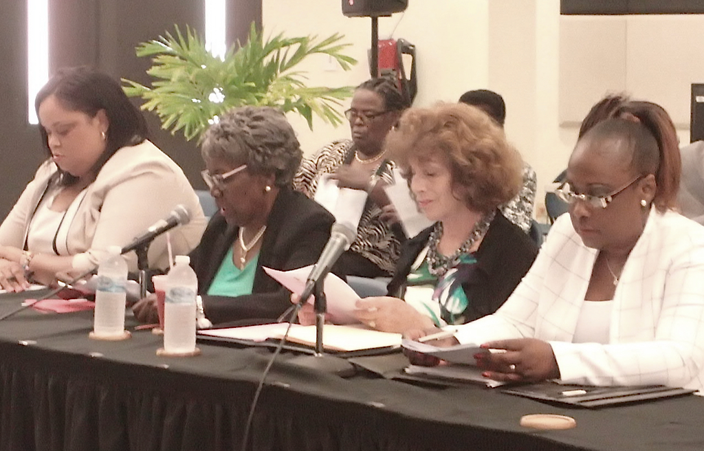 Members and staff from the Nursing Licensure Board address the Finance committee. (Source photo by Susan Ellis)