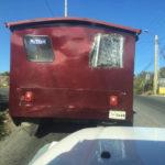 A safari shows damaged rear windows from a crash. (Facebook photo)