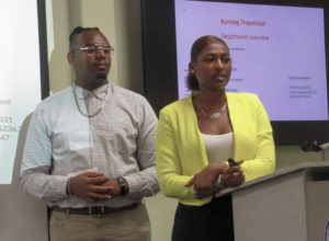 Tropstickal executives Jason Nicholas and Ariyanna Francis give their presentation. (Source photo by Raven Phillips)