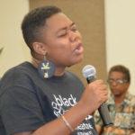 Assata Afua, director Black Power Theater, relates her experience of Ghana. (Photo by Barry Leerdam, Legislature of the Virgin Islands)Assata Afua, director Black Power Theater, relates her experience of Ghana. (Photo by Barry Leerdam, Legislature of the Virgin Islands)
