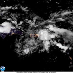 Satellite photo shows tropical waves over Puerto Rico and the USVI. (NOAA photo)