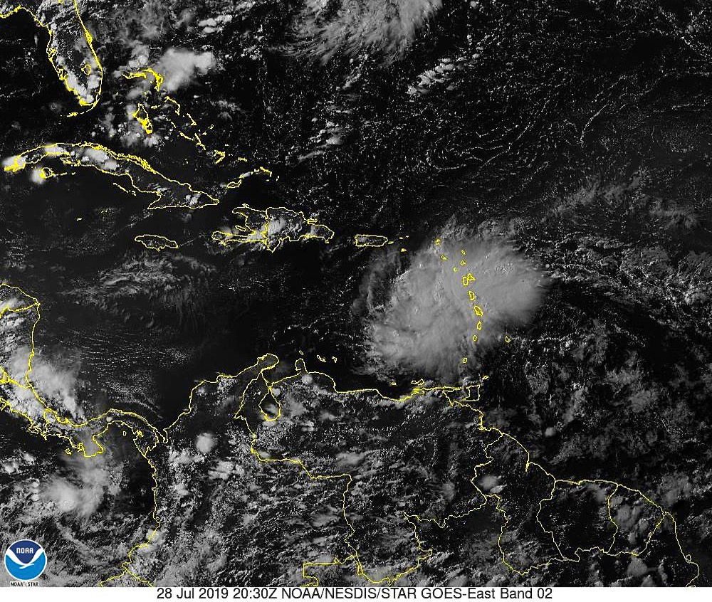Satellite photo shows storm system moving across the Caribbean. (NOAA photo)