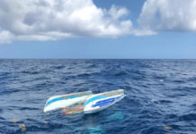 Coast Guard crews and the Good Samaritan vessel One Life combined efforts to rescue 36-year-old Kevin Wenk of the U.S. Virgin Islands from the water Tuesday, after his 12-foot catamaran capsized north of Culebra Island. (Photo by U.S. Coast Guard)