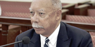 George Dudley testifies before the Senate Finance Committee. (Barry Leerdam, USVI Legislature)