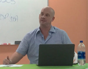 Jay Rollins of the St. Croix Long Term Recovery Group talks about fundraising at Monday's meeting. (Source photo by Susan Ellis)