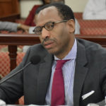 RT Park Executive Director Peter Chapman answers questions at a meeting of the Senate Finance Committee. (USVI Legislature photo)