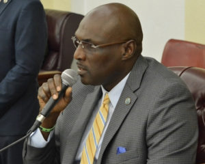 Sen. Novelle Francis speaks to various bills during the Rules and Judiciary Committee meeting held on Aug. 26, 2018. (Photo by Barry Leerdam for the USVI Legislature)