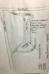 Gary Ray's sketch of how a recycling center might be laid out.