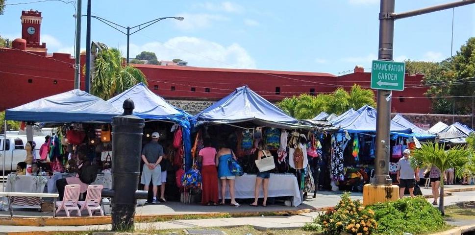 Crowds gather at Vendors Plaza on St. Thomas. (File photo by the USVI Legislature)