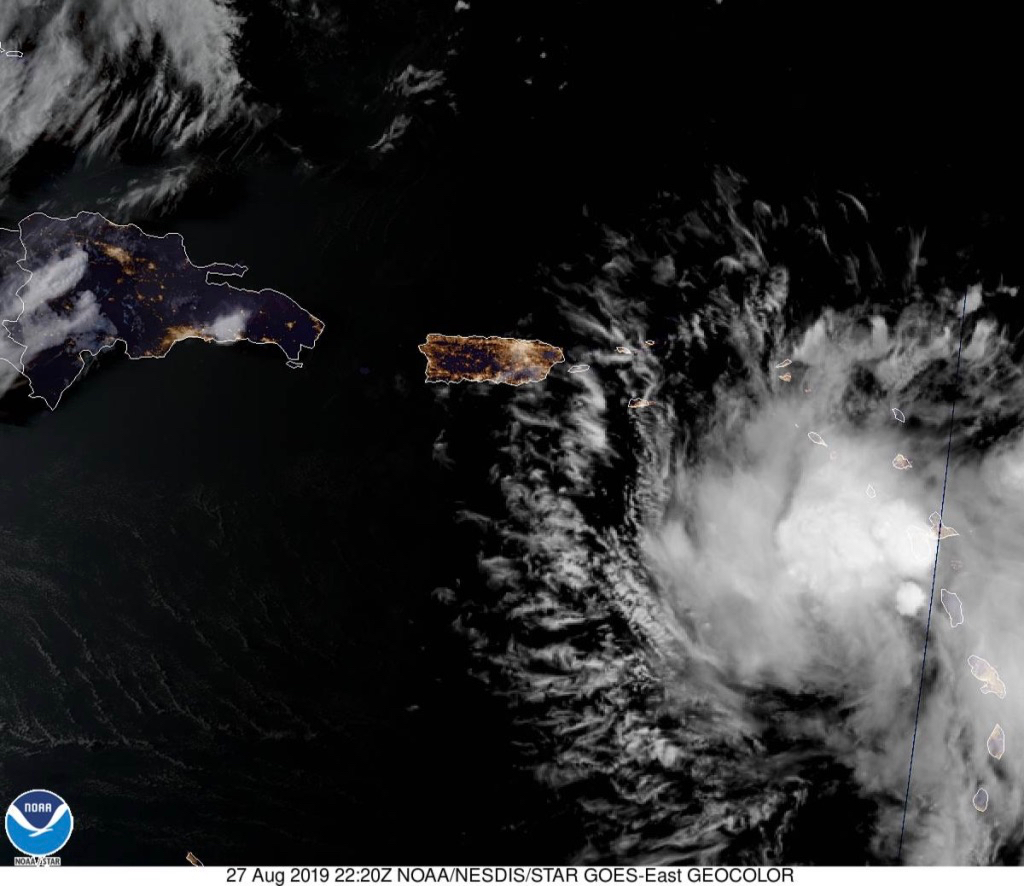 Satellite photo Tuesday evening shows Tropical Storm Dorian approaching, with Puerto Rico at the center of the image. (Satellite photo from NOAA)