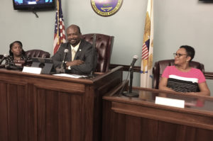 From left, St. John Administrator Shikima Jones Sprauve, Sen. Steven Payne, and Myrtle Penn, Payne's office administrator, conduct Monday's meeting. (Source photo by Amy Roberts)