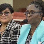 Teacher representatives Rosa Soto-Thomas, left, and Carol Callwood express concern over this latest attempt to change the school calendar. (Photo by Barry Leerdam, USVI Legislature)