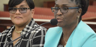 Teacher representatives Rosa Soto-Thomas, left, and Carol Callwood express concern over this latest attempt to change the school calendar. (Photo by Barry Leerdam, USVI Legislature)