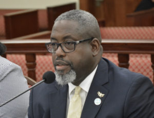 Property and Procurement Commissioner Anthony Thomas is peppered by questions from the Senate Finance Committee Friday. (Photo by Barry Leerdam for the V.I. Legislature)