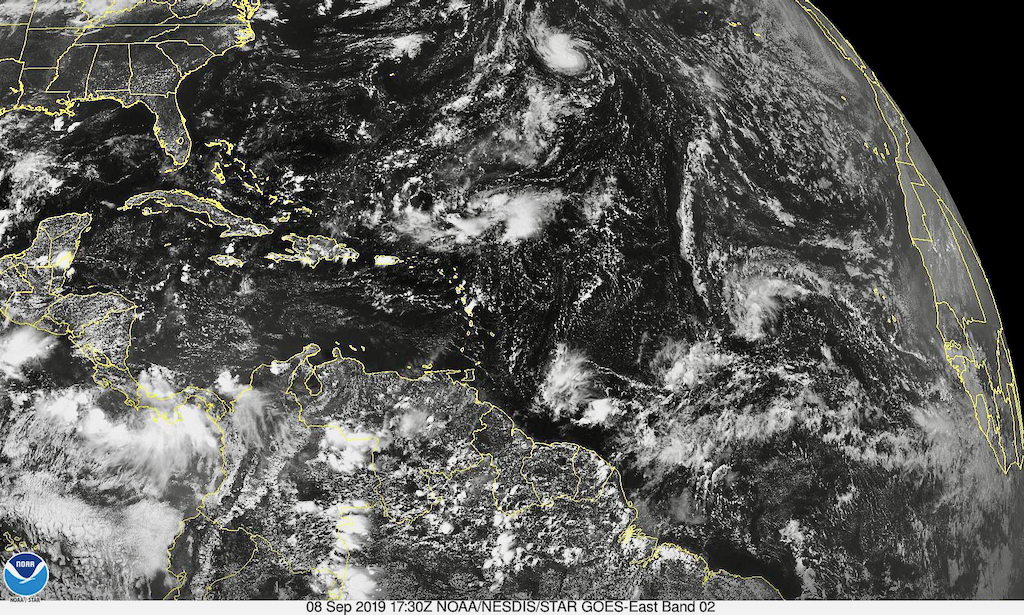 Satellite photo shows disorganized storm, lower, right, moving across the Atlantic. (Photo from NOAA)