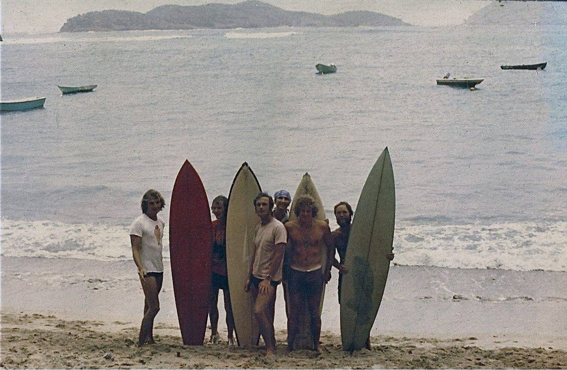 Surfing together on the island of St. Thomas in the early 1970s stand, from left, Don Edwards, Harry Hunter, Mick Kollins, Byron Newland, Charles Edwards and Michael Kiddon. (Photo provided by Don Edwards)