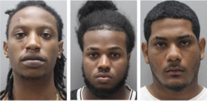 Three suspects in a Friday, Aug. 30, shooting on St. Thomas. From left, Rony Tati, Javier Anderson DeJesus and Angel Alejandro Guerrero. (VIPD photos)