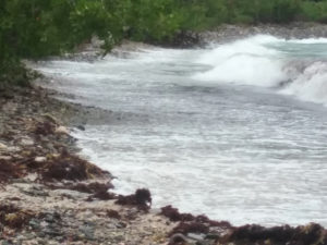 Winds and rough seas push rolling waves across normally tranquil Haulover Bay on Tuesday. (Source photo by Judi Shimel)