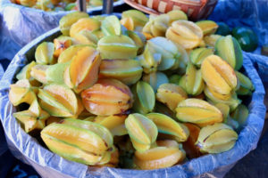 A local favorite, Carambolas, are ripe and ready for use at the Sejah Farm VI market. (Source photo by Linda Morland)