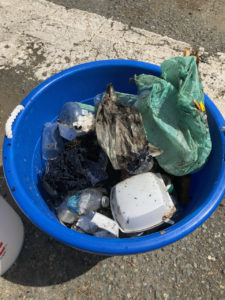 Single use plastics collected on Raadets Gade during Rock City Clean Streets cleanup. (Photo supplied by Kitty Edwards)