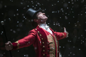 """Hugh Jackman in a scene from his 2017 movie, """"The Greatest Showman."""" The veteran of the """"X-Men"""" movies among a wide variety of roles, will appear in """"The Music Man"""" on Broadway in 2020. (Publicity photo)"""