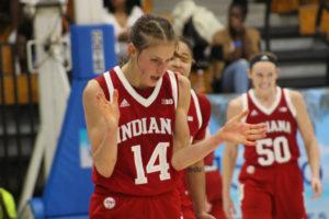 Ali Patberg celebrates in Indiana's upset win over South Carolina. (Photo by Basketball Travelers)