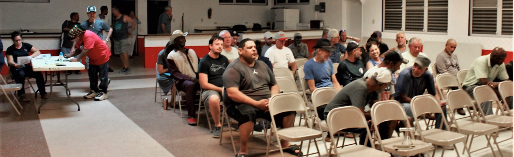 Approximately 75 fishermen find their seats during the St. Thomas/ St. John Fisherman's Association meeting. (Source photo by Bethaney Lee)