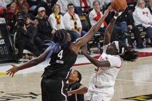 South Carolina freshman Aliyah Boston (4) blocks a shot in the Gamecocks win over Maryland. (Photo by Kenneth K. Lam, Baltimore Sun)