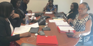 Territorial Hospital Board meeting - St. Croix participants include from left: Joan Jean Baptiste, Chivonne Thomas, Dyma Williams, Dr. Olivine Treasure, Nancy Graham, Helen Danielson.