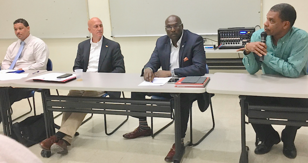 From left, DPNR commissioner Jean-Pierre Oriol, VITEMA Director Dary Jaschen, Senate President Novelle Francis, and Sen. Kurt Vialet discuss Limetree Refinery at Tuesday's town hall. (Source photo Susan Ellis)