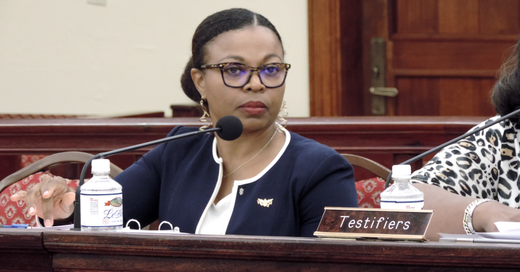 Jenifer O'Neal testifies Tuesday. (Photo by Barry Leerdam for the V.I. Legislature)