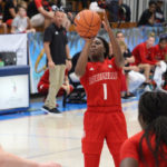 Dana Evans fires a jump shot for Louisville. (Photo by Basketball Travelers)