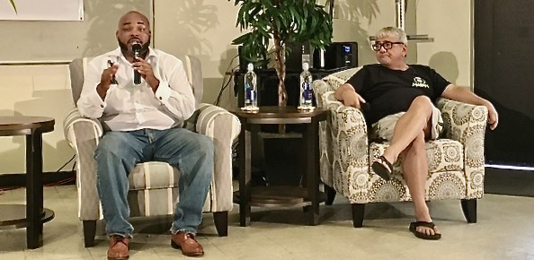 Austin Wright and Dr. Manny DaCosta speak at the cannabis forum. (Source photo by Susan Ellis)
