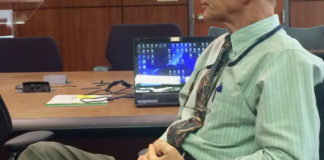 GERS board member Stephen Cohen takes part in the video conferences from St. Croix to St. Thomas. (Source photo by Don Buchanan)