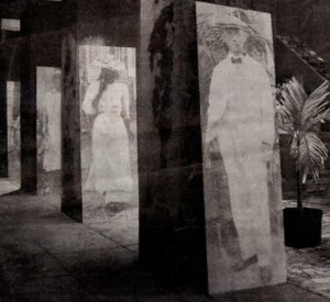 """Transfer Figures"""" – large black-and-white images of people from 1918, by Janet Cook-Rutnik. (Submitted photo)"""