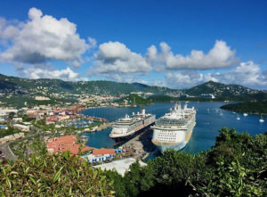 Cruise ships lie side by side at Monsanto Marine Terminal in Crown Bay, St. Thomas. (Photo provided by VIPA)